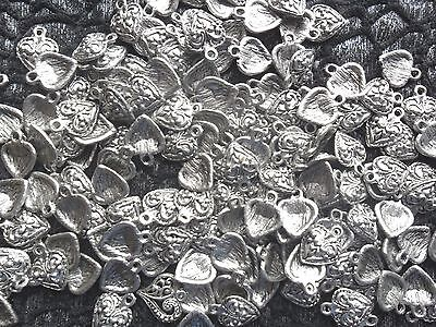 Bulk Lot 10 Silver Plated Heart Pendants Or Charms