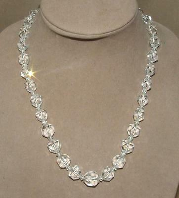 VTG Art Deco Chunky Graduating Multi Faceted Clear Crystal Necklace Hand Cut 20""