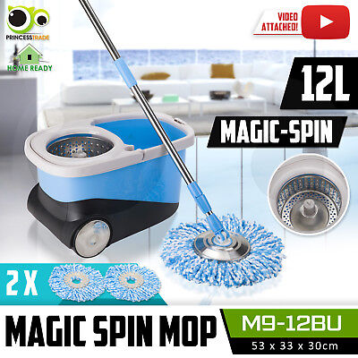 360 Degree Spinning Mop & Stainless Steel MicroFibre Spin Dry Bucket 5X Mop Head