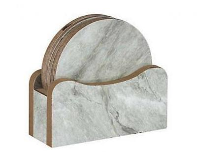 Set of 6 Round Marble Effect Table Protecting Wooden Coaster Coasters & Holder