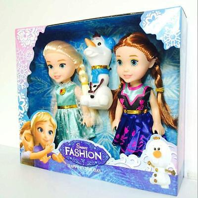 "Playset Frozen Princess Elsa&Anna&Olaf 7"" Doll Figures 3PCS Birthday Gift"