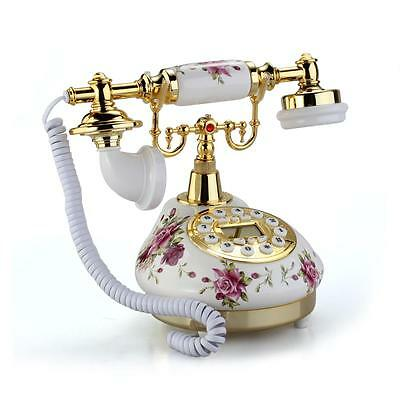 Retro Antique Style Floral Ceramic Home Desk Telephone Phone Gift New