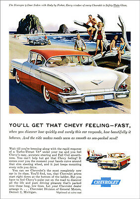 Chevrolet 58 Biscayne Retro A3 Poster Print From Classic Advert 1958