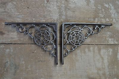 A pair of antique Victorian cobweb brackets cast iron wall shelf bracket AL24