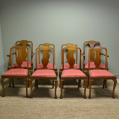 Quality Set of Eight Edwardian Mellow Antique Walnut Dining Chairs