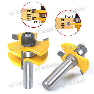 "Matched Tongue & Groove Router Bit Set 1/2"" Stock Shank Wood Cutter Tool"