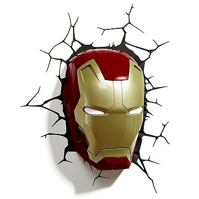 Iron Man Mask 3D LED Wall Art Night Light Kids Children Bedroom Decoration Gift