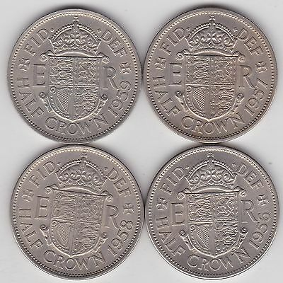 Four Elizabeth Ii Halfcrowns Dated 1956/1957/1958 & 1959 In Extremely Fine
