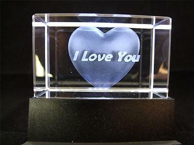 Solid Glass Crystal Laser Block and White Light Box - I Love You Heart.