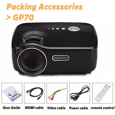GP70UP 1200 Lumen Home HD Projector Cinema 1080P LED Theater Multimedia Player