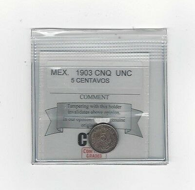 **1903 CnQ** Mexico, 5 Centavos,  Coin Mart Graded **UNC**