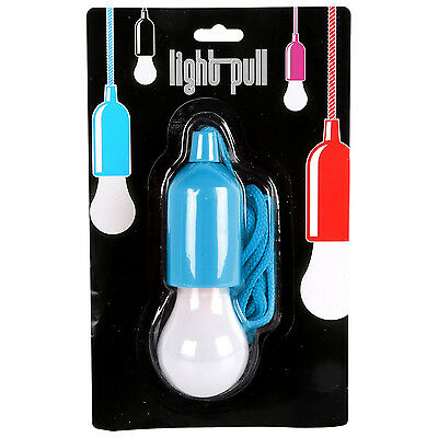 Portable Battery Operated LED Light Bulb On A Rope Pull Cord Blue Reading Lamp