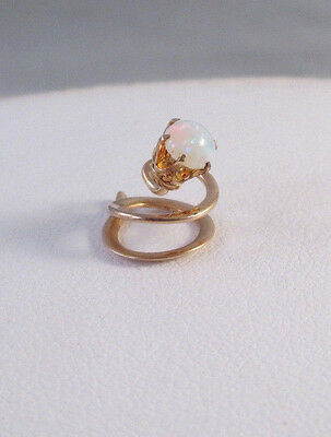 ANTIQUE Vintage Edwardian 14K YELLOW GOLD OPAL HAIR SPRING COIL ORNAMENT PIN