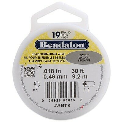 "0.18"" Bright 19 Strand Bead Stringing Wire - Beadalon 0.18"" Diameter 30' Packet"