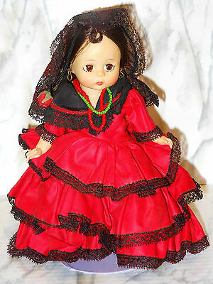 SPANISH Girl Madame Alexander Close Eyes Bend Knees Dress Beads Doll With Stand!