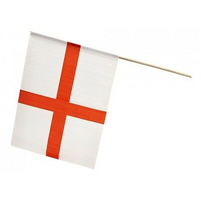 """12"""" x 18"""" St George Flag On Stick - Wooden England Football Sports Party"""