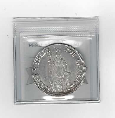 **1840 MB** Peru, 8 Reales, Coin Mart Graded **AU-50**