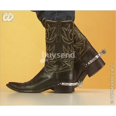 Silver Spurs Cowboy Accessory - Adults Boot Fancy Dress Costume New