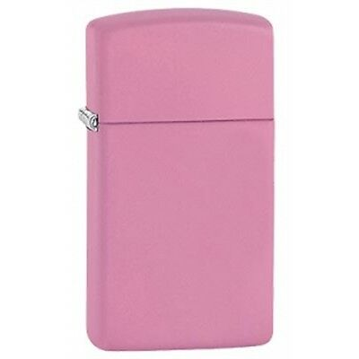 Slim Matte Pink Zippo Lighter - Pocket Small Gift Present Smokers Accessory