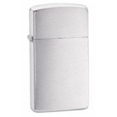 Slim Brushed Chrome Zippo Lighter - Thin Gadget Gift Present Smokers Accessory