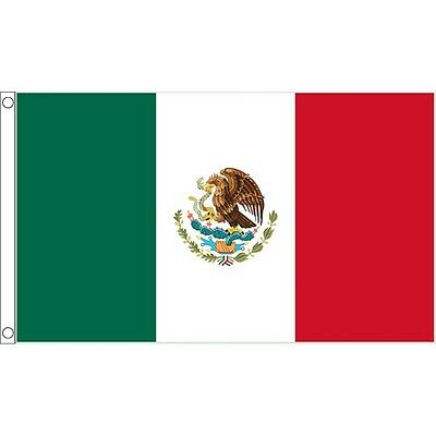 5ft x 3ft Mexico Flag With 2 Eyelets - Mexican 5ft National Country Metal