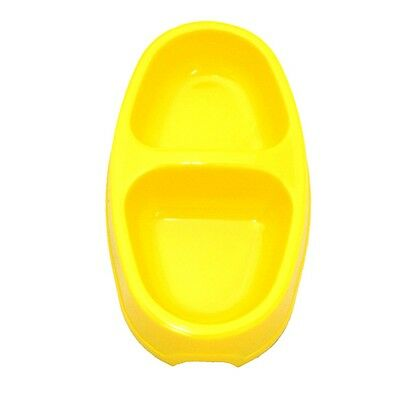 Yellow Plastic Double Cat Bowl - James & Steel Cats Pets Feeding Food Water Pet