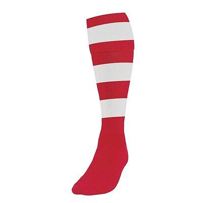 Men's Size Red White Hooped Football Socks - Mens Adults Hoop Sports Rugby