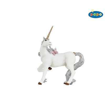 Papo Silver Unicorn Figurine - Mythical Fantasy Fairytale Creature Animal Toy
