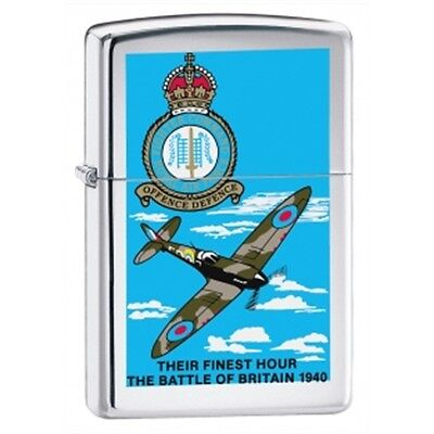 High Polish Chrome Battle Of Britain Zippo Lighter - Pocket Gift Smokers