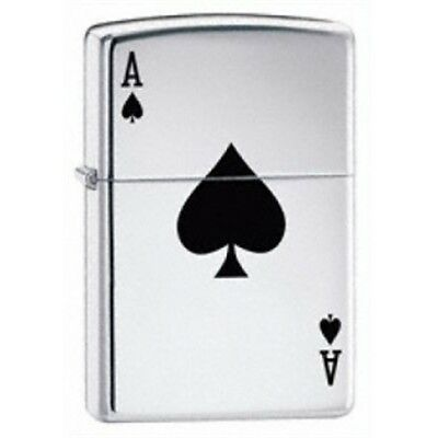 High Polish Chrome Lucky Ace Zippo Lighter - Pocket Gift Present Smokers