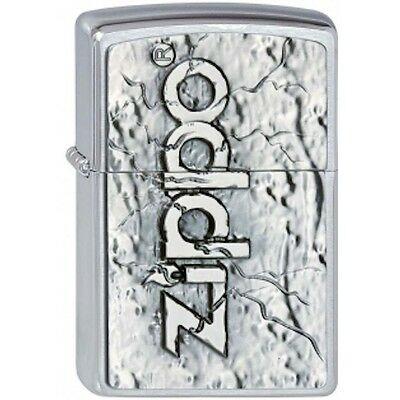 Brushed Chrome Zippo Stone Design Zippo Lighter - Smokers Gift Present Accessory