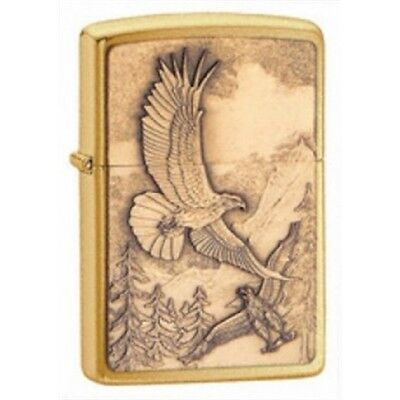 Brushed Brass Where Eagles Dare Emblem Zippo Lighter - Small Pocket Gift Smokers