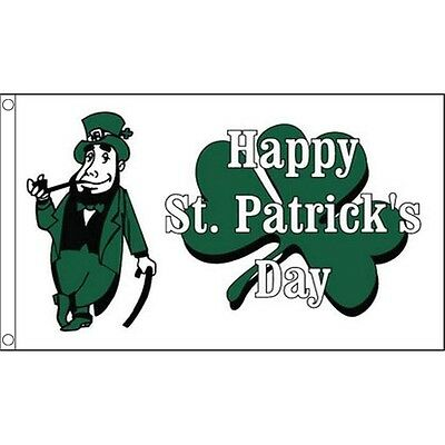 5ft x 3ft White Happy St Patricks Day Flag - () Irish Ireland 5ft With Metal