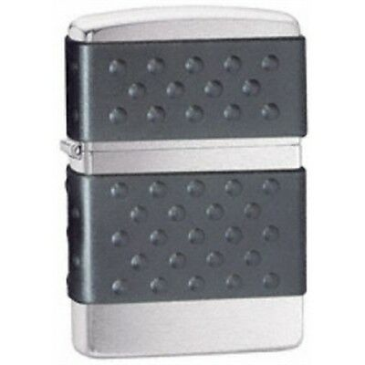 Brushed Chrome Black Zip Guard Zippo Lighter - Pocket Gift Smokers Accessory