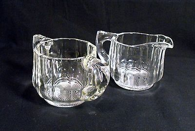 Vintage  Heavy Clear Glass 12 Verticle  Panels Creamer and Sugar Bowl