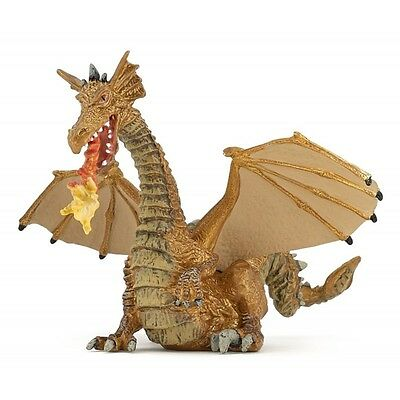 Papo Gold Dragon With Flame - Kids Toy Fantasy Figurines Miniatures Mythical