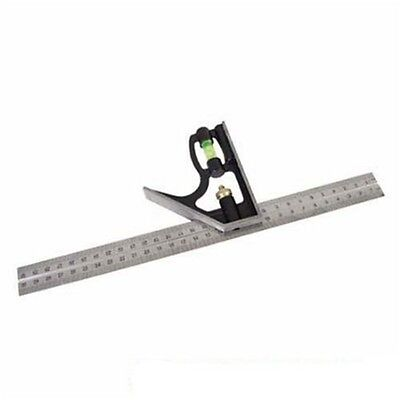 300mm Silverline Combination Square - Accurate Level Steel Blade Joinery Diy