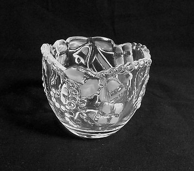 Mikasa Crystal Germany Clear Candy Dish Frosted Bells Bows Gifts Beaded Edge
