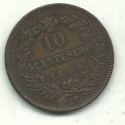 Very Nice Higher Grade  1866 T 10 Centesimi Italy Coin-Apr597