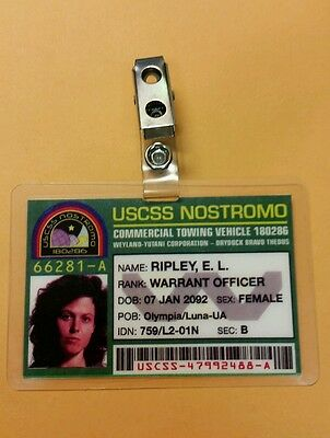 Aliens ID Badge-USCSS Nostromo Warrant Officer Ripley prop costume cosplay
