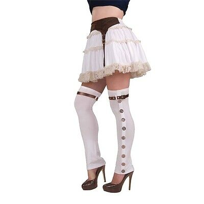 White Ladies Steampunk Buckle Spats - Womens Sexy Victorian One Size Fancy Dress