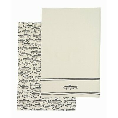 70 x 47cm Set Of 2 Catch Of The Day Cotton Tea Towels - Kitchen Craft Patterned