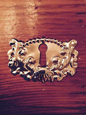 Polished  Brass ornate Keyhole Cover  ESCUTCHEON #1207-PB