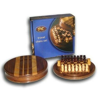 5 Inch Round Pegged Travel Wooden Chess Set - Sac - Games Game Family Fun Play