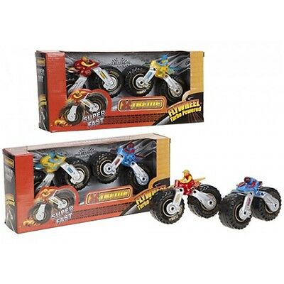 Pack Of 2 Supercharged Flywheel Toy Motorbikes - 2pc Kids Childs Racing Vehicle