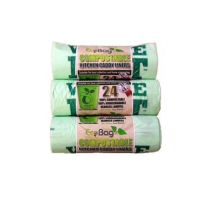 Pack Of 24 Compostable Caddy Liners - Eco Bag 10l Recycled Enviromentally