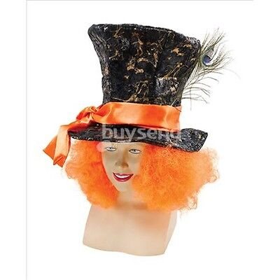 Black Mad Hatter Hat With Hair - Top Orange Fancy Dress Costume