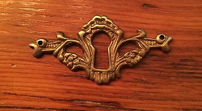 Smaller Antique cast Brass horizontal  Keyhole Cover  ESCUTCHEON #1201-AB