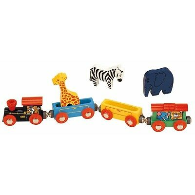 Wooden Railway Animal Train Set - Toys For Play Classic Childrens Kids Toy