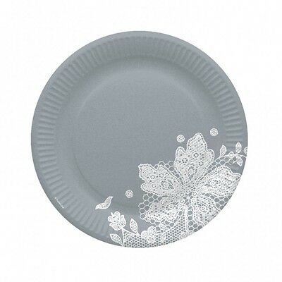 Amscan International 23cm Paper Plate, Grey And White